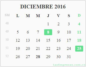 Calendario Gratis 2016 Colombia Con Festivos | Calendar Template 2016
