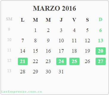Calendario Colombia 2020 Festivos.Calendario Del Ano 2016 Con Festivos Colombia Las Empresas