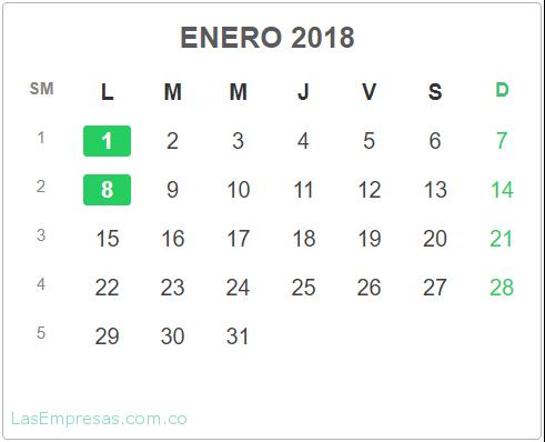 Calendario Enero 2020 Colombia.Calendario Colombia 2018 Las Empresas
